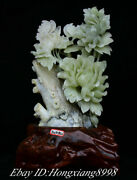 18.8 Chinese Natural Xiu Jade Carving Peony Flower Auspicious Butterfly Statue