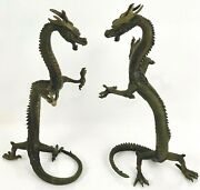 Pair Of 18 Fengshui Wealth Dragon Loong God Serpent Bronze Statues
