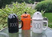 New Rae Dunn Bundle 3 Mug Toppers Boo Spooky And Trick Or Treat Halloween 2021