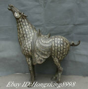 27.5 Old China Bronze Silver Ware Dynasty Inscription Animal War Horse Statue
