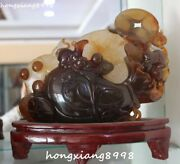 26cm Excellent Natural Agate Onyx Wealth Mice Mouse Rat Animal Coin Purse Statue