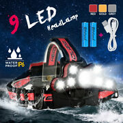 120000lm 9xt6 Led Eadlamp Rechargeable Usb Zoom Eadlight 2x18650 Torch Lamp !