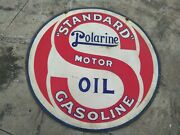 Standard Polarine Motor Oil Enamel Sign Size 42 Inches Round Double Sided