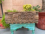 1700and039s Antique 19 X 7and039and039 Wooden Hand Carved Elephant Floral Figure Wall Panel