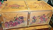 Vintage Toy Chest Western Cowboy Themed Wood Red Paint 1950s-60s