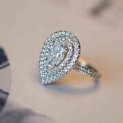 Christmas 1.15 Ct Real Pear Diamond Wedding Ring Solid 14k White Gold Size 6 7 8