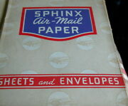 Vintage Air Mail Stationery Sphinx 100 Sheets And 24 Envelopes12 @ 6.5 12@ 9.5