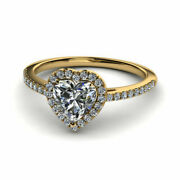 Heart Real 0.70 Ct Diamond Ladies Engagement Ring Solid 14k Yellow Gold Size 5