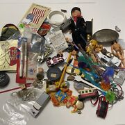 Junk Drawer Lot Cars Dice Pens Pins Jewelry Patches Toys