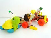 3 Pull Toys Little Snoopy 693 Jalopy 724 Turtle Dog Clown Vintage Fisher Price
