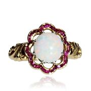 Ring Antique Opal Ruby Calibrated Yellow Gold Jewelry Antiques