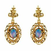 Earrings Gold Opals Yellow Gold Vintage Jewelry Antiques
