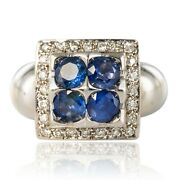 Ring 4 Sapphires Diamonds White Gold Modern Jewelry Occasion