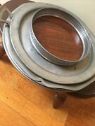 Vintage Revere Pewter Rimmed Formica Faux Wood Tray 7 Inch Round And4 Pewter Trays