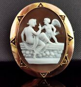 Antique Victorian Cameo Brooch 9ct Gold Cupid