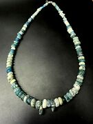 Old Antique Ancient Roman Antiquities Melon Shaped Glass Jewelry Bead Necklace