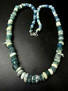 Old Antique Ancient Roman Antiquities Melon Shaped Glass Jewellery Bead Necklace