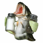 Salt And Pepper Shakers Bass Holding Poly Resin And Glass Matching Set
