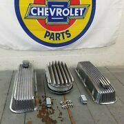 Chevy Bbc 15 Deep Finned Ac Valve Covers Engine Kit Pcv Breathers 496 454 427