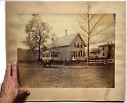 Huge Antique Albumen Photo Rural Country Street Scene Horse Buggy Greenfield Ma