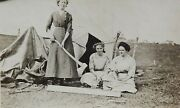 Vintage Antique 1912 Rppc Photo Mcintosh Sd Women Camping And Axes