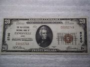 1929 20 Zanesville Ohio Oh National Currency T1 5760 Old Citizens Nb Low S/n