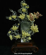 19.6 China Natural Xiu Green Jade Carving Orchid Flower Bird Bottle Vase Statue