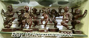 12and039and039 Old Chinese Pure Bronze Folk Eight Boy Flute Sword Dance Play Statue Set