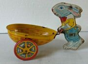 J Chein And Co Easter Bunny Cart Made In Usa Vintage Toy
