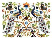 Pair Of Peacock Art Inlaid Stone Wall Panel Marble Dining Table 30 X 36 Inches