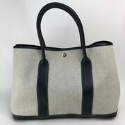 Hermes Garden Party-pm Hand Bag Tote Bag Toile H/leather Natural/black