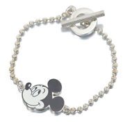Bracelet Bangle Ball Chain Mickey Disney Toggle Silver Ag925 Authentic