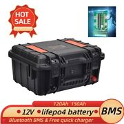 12v 120ah Lifepo4 Battery Pack Build-in Bluetooth Bms For Solar Rv 30a Charger