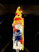 New Pabst Blue Ribbon Melting Pizza Beer Artist Series Hand Painted Tap Handle
