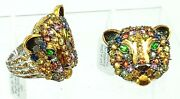 Gems En Vogue By Michael Valitutti Sterling Multi Gem Panther Ring And Pin Pendant