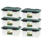 Airtight Storage Box Set Of 6 Clear Totes Plastic Containers 19qt Stackable Bin