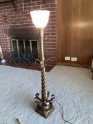 Vintage Mid Century Modern Wood And Brass Sculptural Lamp With Glass Shade