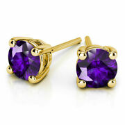 Natural 4.00 Ct Amethyst Gemstone Stud 14k Hallmarked Yellow Gold Solid Earring