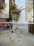 French Antique Pastry Bistro Table Marble Top Iron Brass Dining Table Kitchen