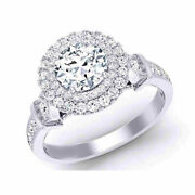 Valentine Gift 0.80 Ct Real Diamond Wedding Rings Solid 14k White Gold Size 6 7