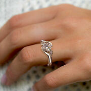 1.00 Ct Real Diamond Three Stone Anniversary Rings Solid 14k White Gold Size 8 9