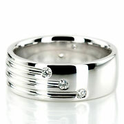 0.35 Ct Natural Diamond Men's Engagement Ring Solid 14k White Gold Size 9 10 11