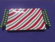 Pier 1 Imports Hand Painted Candy Cane Ironstone Candy Dish Christmas