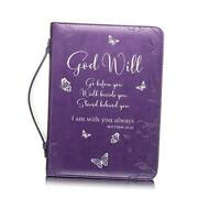 Bible Cover - Book Case In Purple With Butterflies -fits Very Bibles And Small