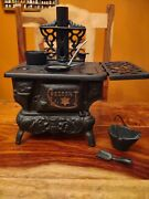 Vintage Cast Iron Crescent Wood Cook Stove And Accessories 6w X 8.5h