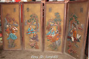 69chinese Huanghuali Wood 2 Old Man Play Qin Chess Book Draw Screen Shrines Set