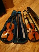 2 Vintage Quality German Violins With Bows And Cases