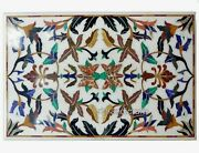 Marble Patio Coffee Table Top Inlay Floral Pattern Dinette Table 30 X 48 Inches