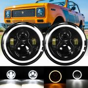 For International Harvester Scout Ii 1973-1980 Pair 7 Inch Round Led Headlights