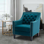 Accent Armchair Tulfed Velvet Chair Soft Foam Seat Tight Back Solid Wood Legs